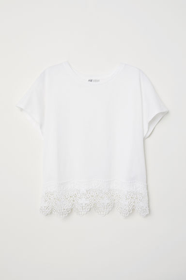 Jersey top with lace - White - Kids | H&M CN