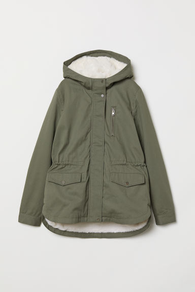 Parka with faux fur lining - Dark khaki green -  | H&M