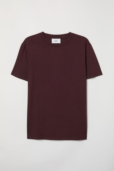 Cotton and silk T-shirt - Burgundy -  | H&M CN