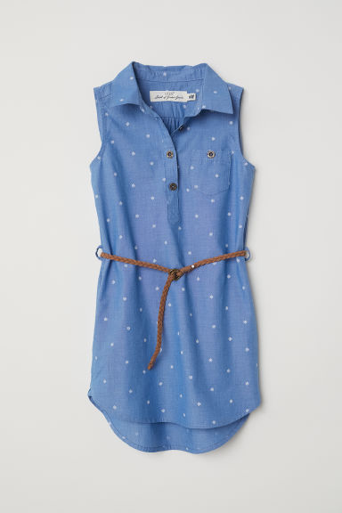 Sleeveless shirt dress - Blue/Flowers -  | H&M CN