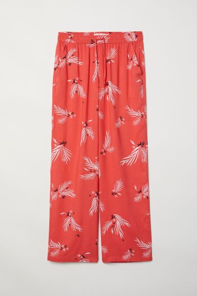 Wide trousers - Bright red/Patterned -  | H&M CN