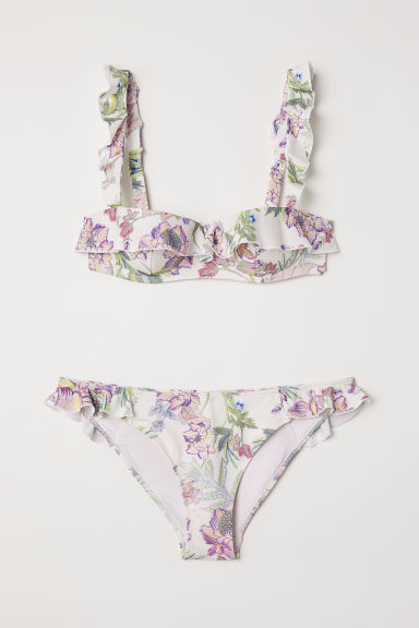 Flounced bikini - Natural white/Floral - Ladies | H&M CN