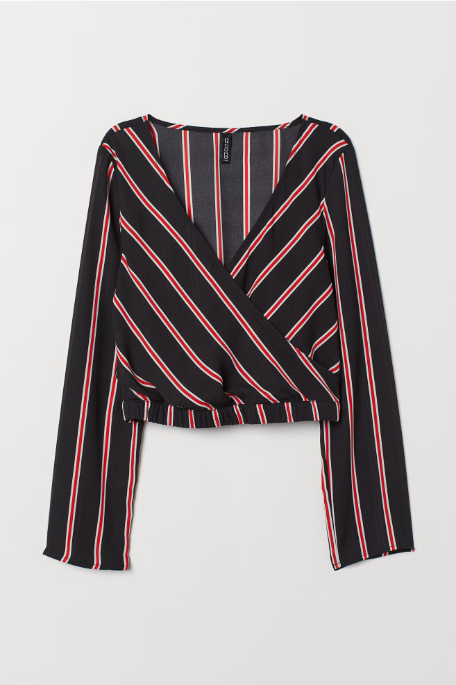 a29fee935a75a9 Short Wrapover Blouse - Black/red striped - Ladies | H&M ...