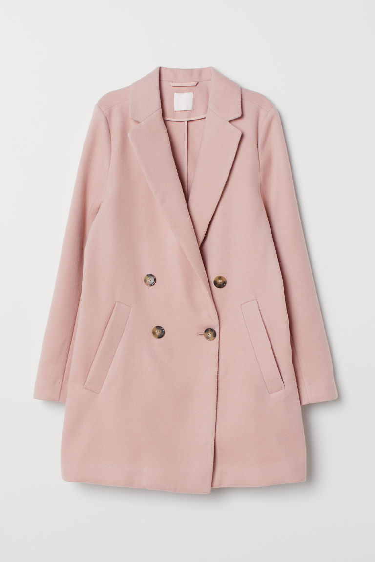 Double-breasted Coat - Powder pink - Ladies | H&M US
