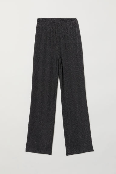 Wide pull-on trousers - Black/Silver-coloured - Ladies | H&M