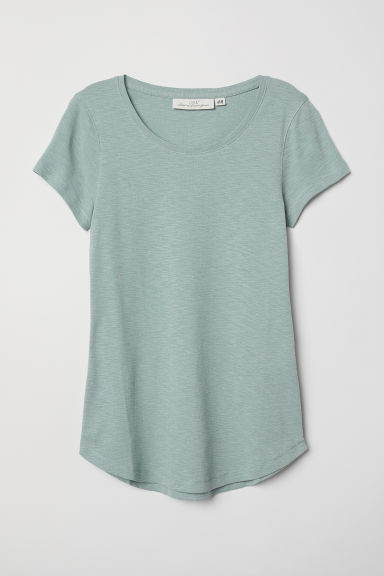 Short-sleeved jersey top - Dusky green - Ladies | H&M CN