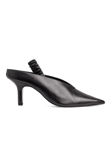 Leather slingbacks - Black -  | H&M CN