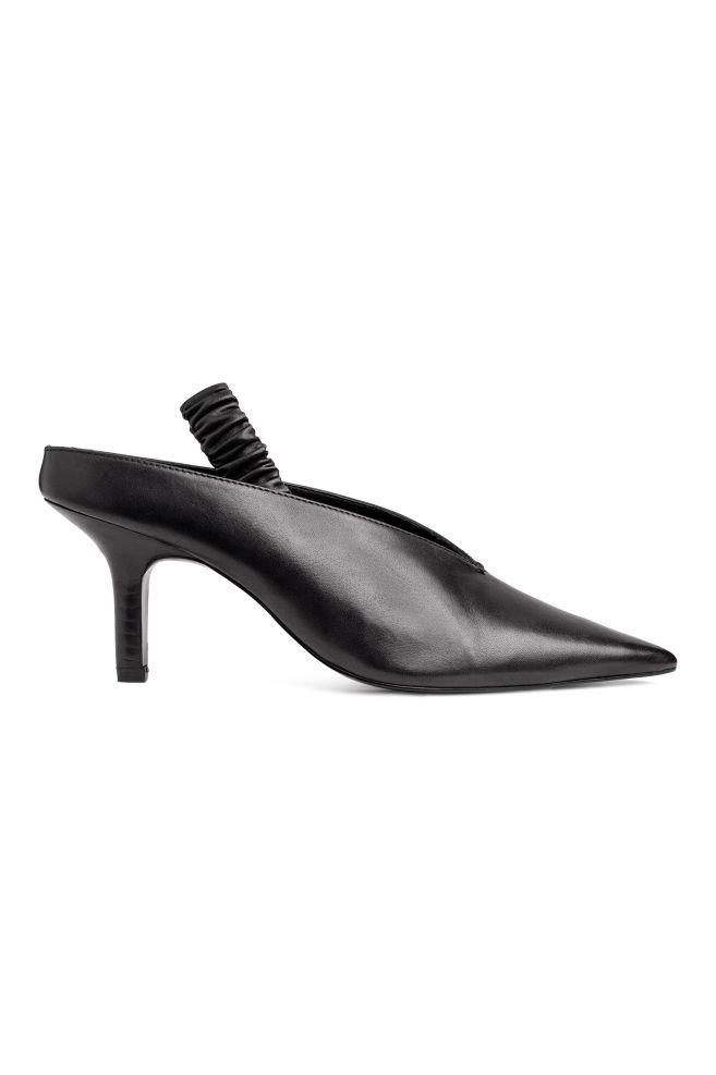 Leather Slingbacks - Black - Ladies