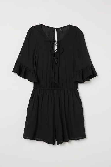 Tuta corta con lacci - Nero -  | H&M IT