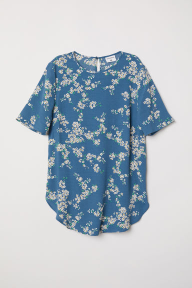 Patterned top - Dusky blue/Floral - Ladies | H&M