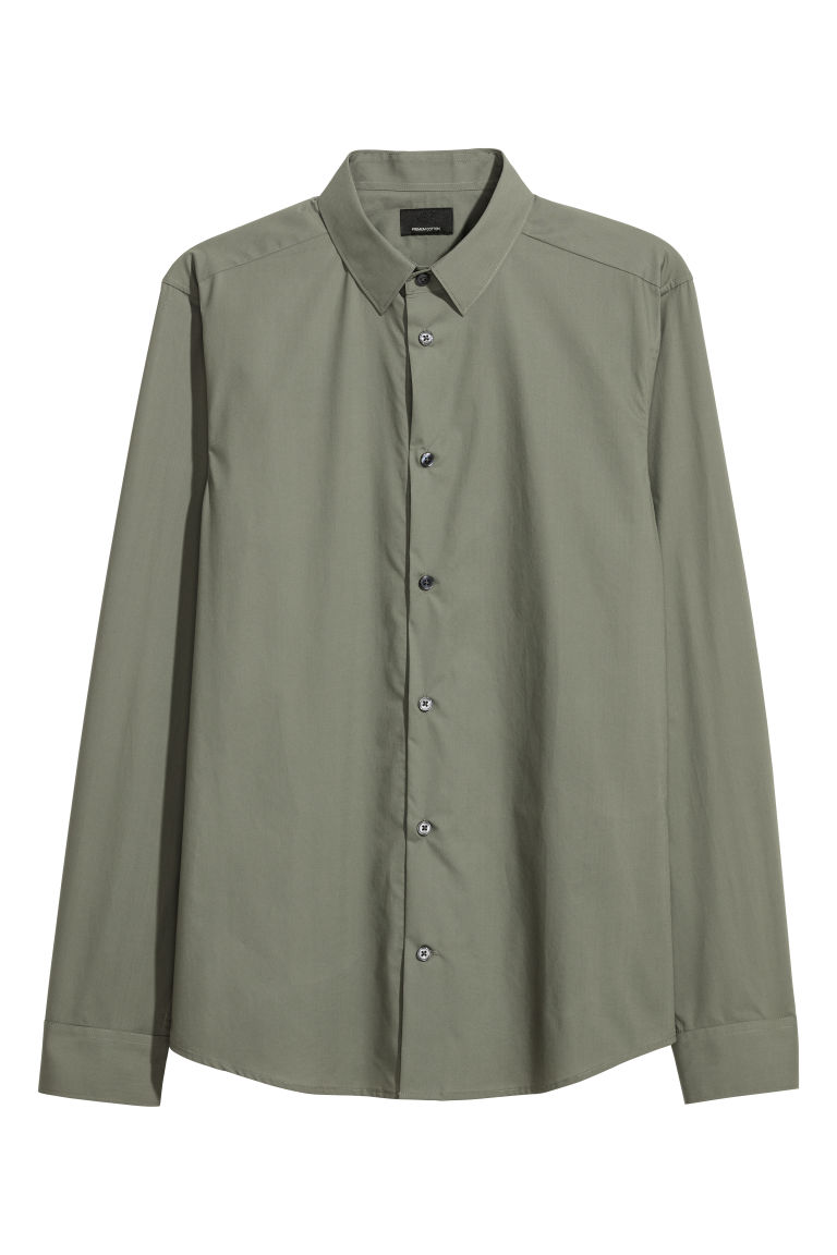 Premium cotton shirt - Khaki green - Men | H&M