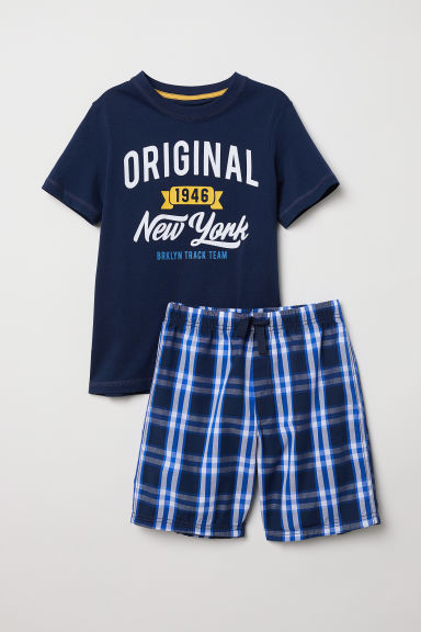 Pyjama T-shirt and shorts - Dark blue - Kids | H&M