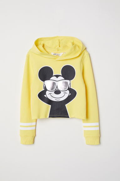 Short hooded top - Yellow/Mickey Mouse -  | H&M