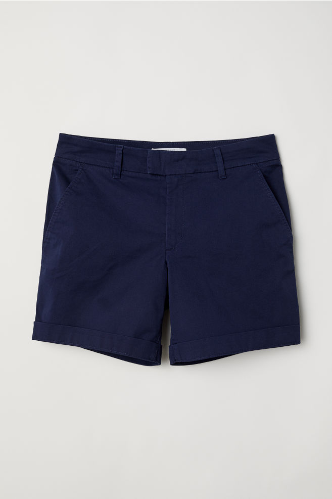 Short chino shorts - Dark blue - Ladies | H&M GB 3