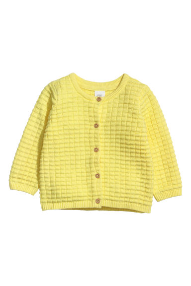 Textured-knit cardigan - Light yellow - Kids | H&M