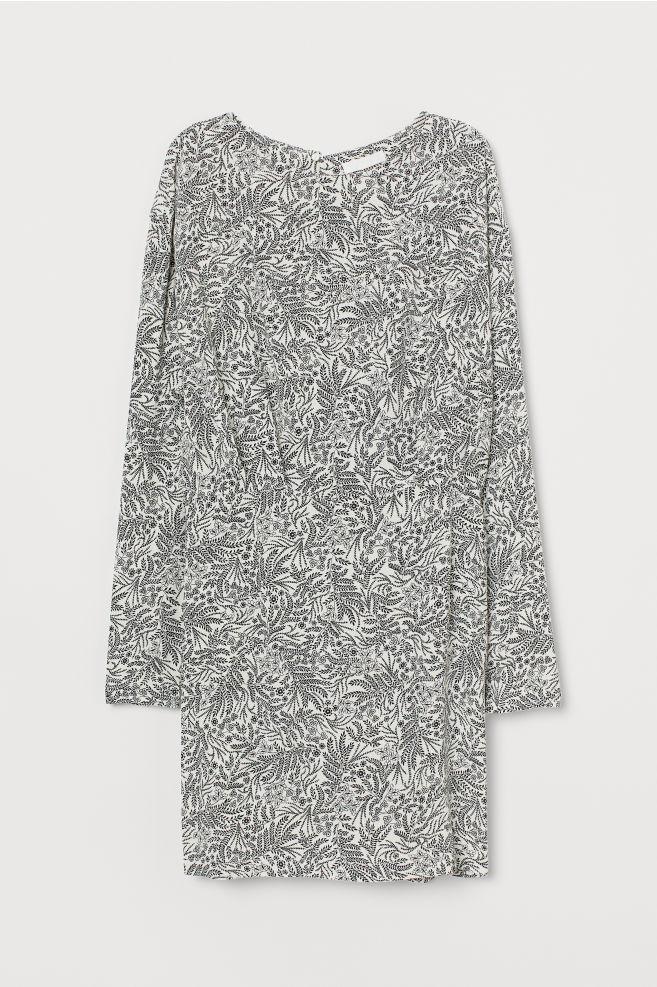 52417e349ee ... Crepet kjole - Hvid/Blomstret - DAME   H&M ...