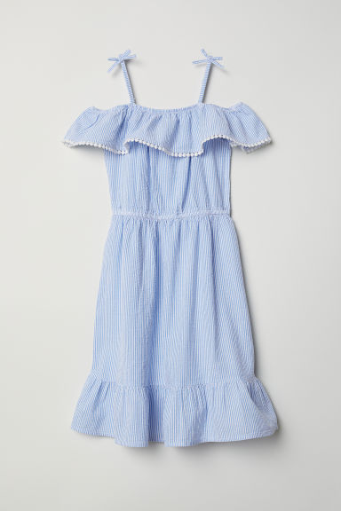 Cold shoulder dress - Blue/Striped - Kids | H&M