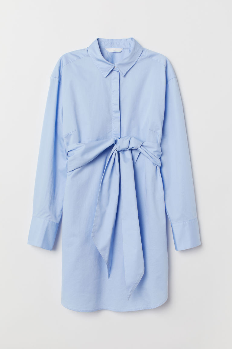 MAMA Tunic with Tie Belt - Light blue - Ladies | H&M US