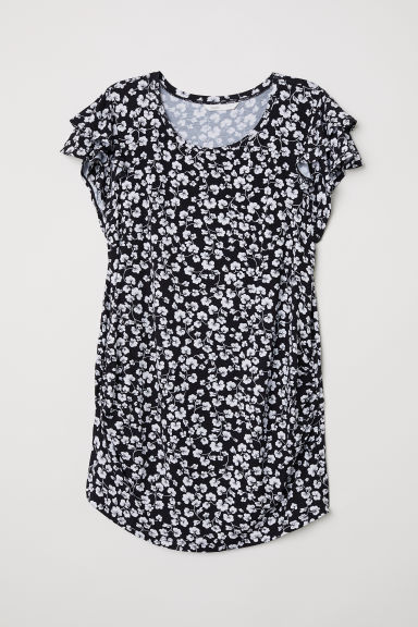 MAMA Top with flounced sleeves - Black/Floral -  | H&M