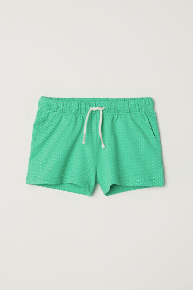 Jersey shorts - Green/Spotted - Kids | H&M