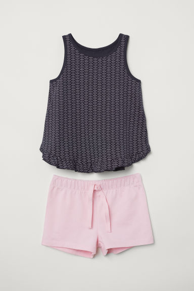 Canotta e shorts - Blu scuro/fantasia -  | H&M IT
