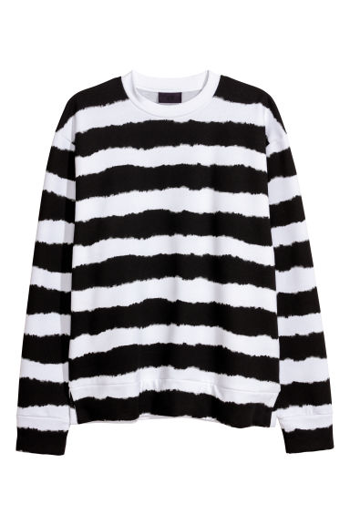 Oversized sweatshirt - Black/White striped - Men | H&M