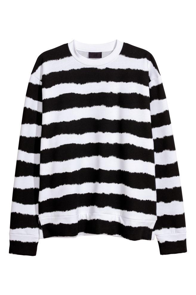 Oversized Sweatshirt Blackwhite Striped Men Hm Us