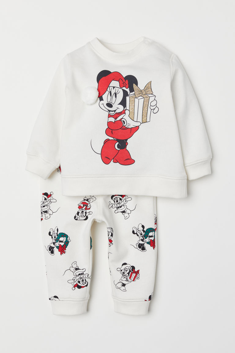 Sweatshirt and trousers - White/Minnie Mouse - Kids | H&M CN