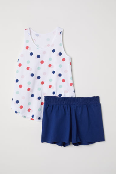 Tricot shortama - Wit/stippen -  | H&M BE