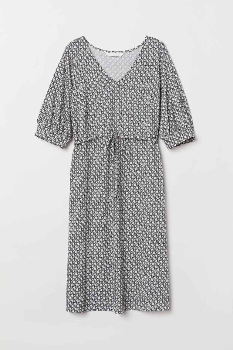 MAMA V-neck dress - White/Black patterned - Ladies | H&M