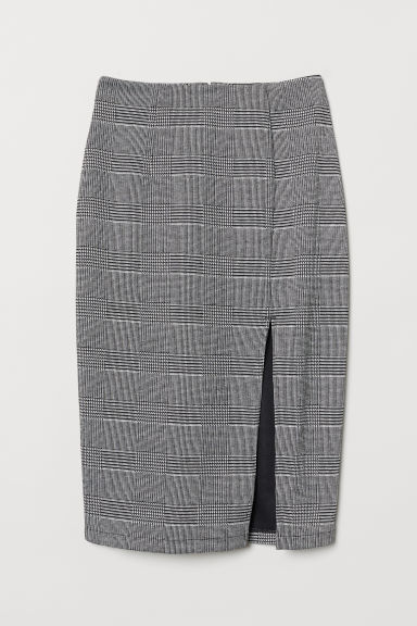 Pencil skirt with a slit - Black/Checked - Ladies | H&M