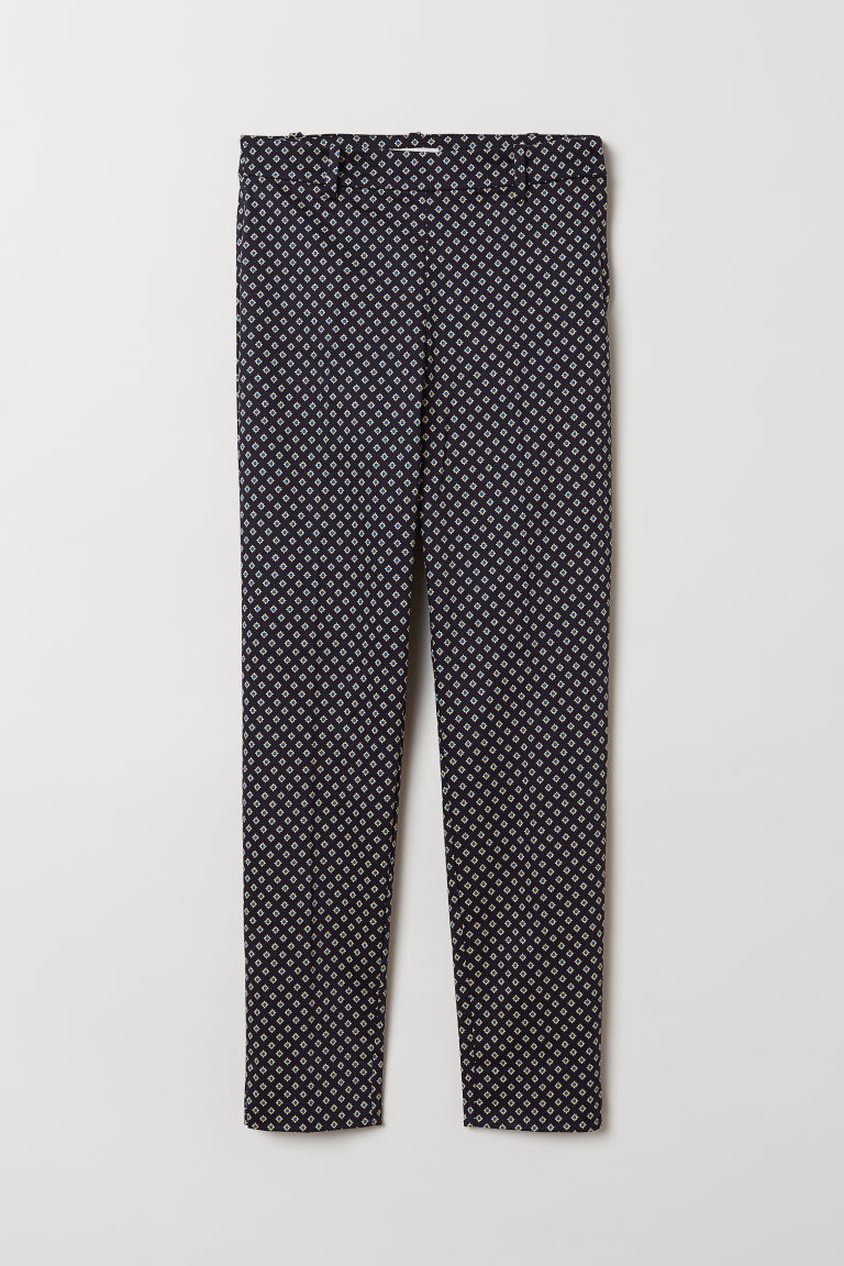 Cigarette trousers - Dark blue/Spotted - Ladies | H&M