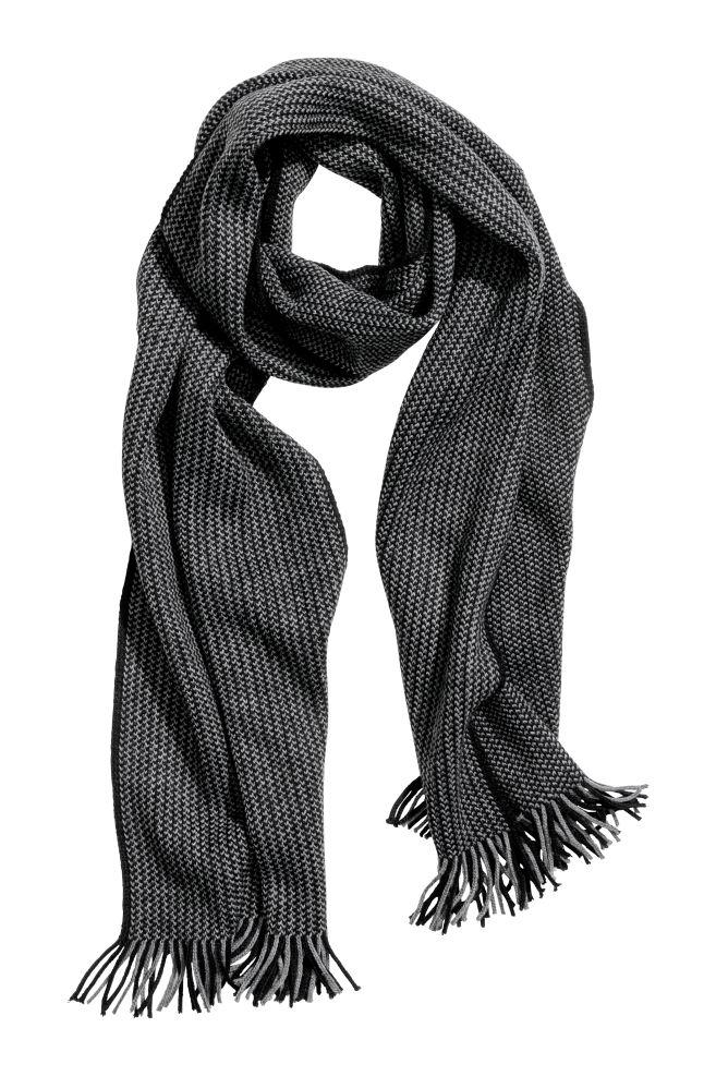 Pletená šála - Tmavě šedá černá - MUŽI  786ed543ba