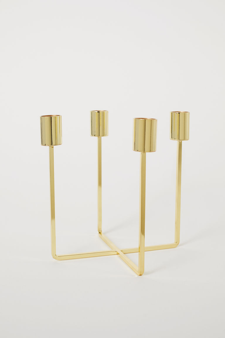 Metal candlestick - Gold-coloured - Home All | H&M CN