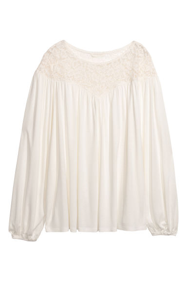 Top with a lace yoke - White - Ladies | H&M CN