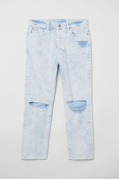 Trashed twill trousers - Light blue washed out -  | H&M