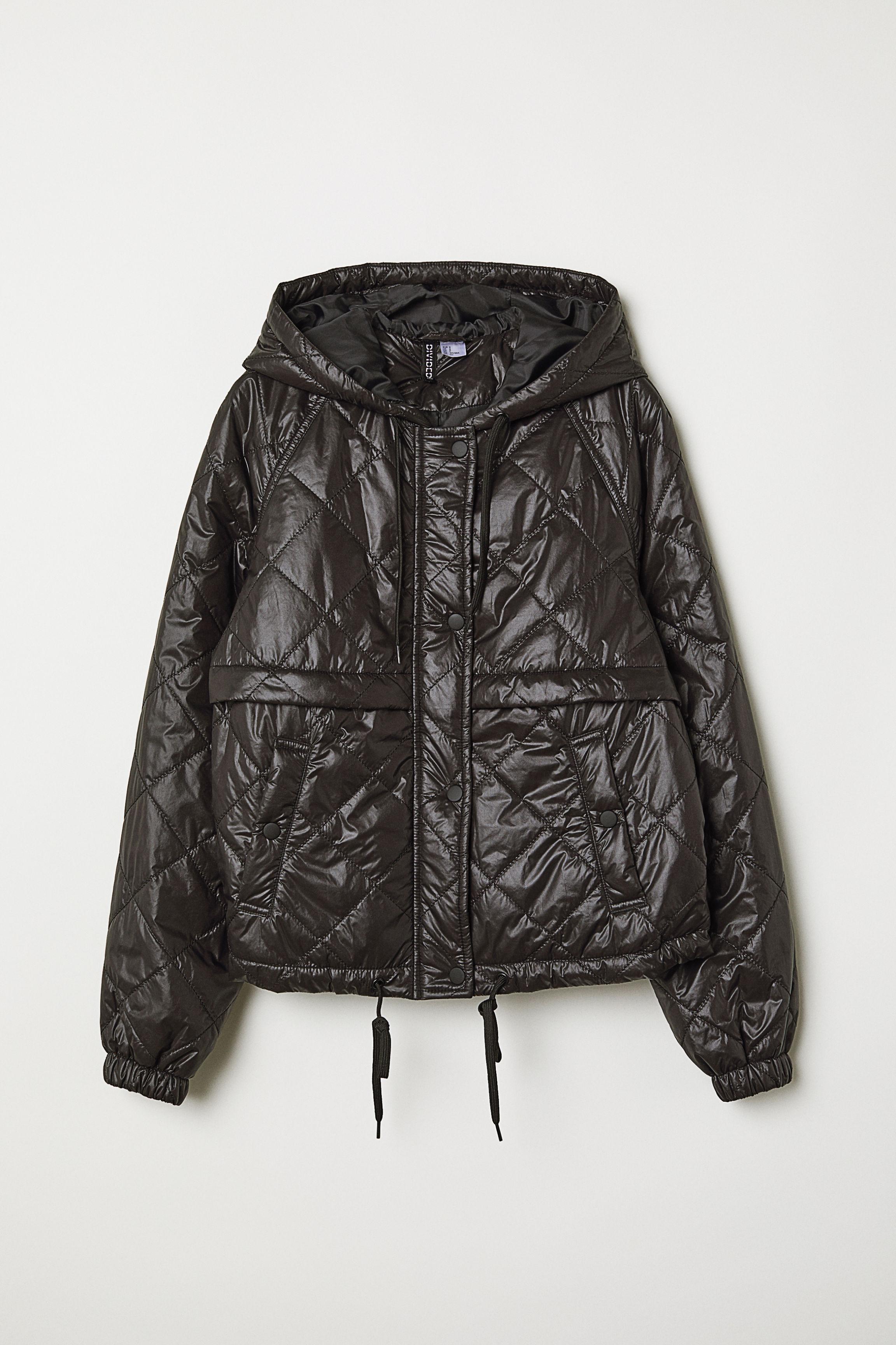 37999c62cc8a9 Pikowana kurtka z kapturem - Czarny - | H&M PL