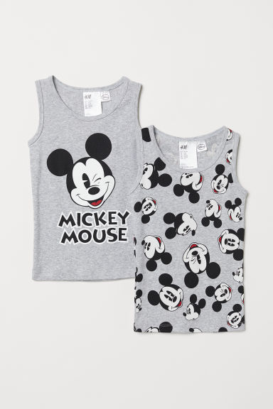 2-pack vest tops - Grey marl/Mickey Mouse -  | H&M CN