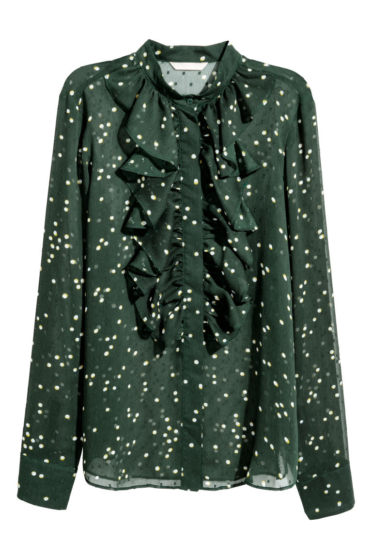 Plumeti blouse - Dark green/Spotted - Ladies | H&M GB