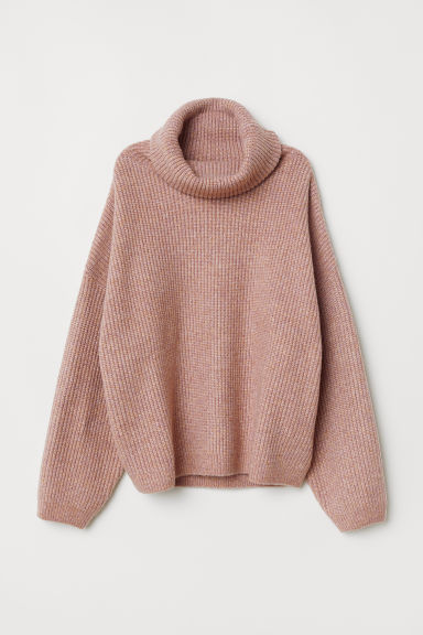 Ribbed polo-neck jumper - Pink marl - Ladies | H&M GB