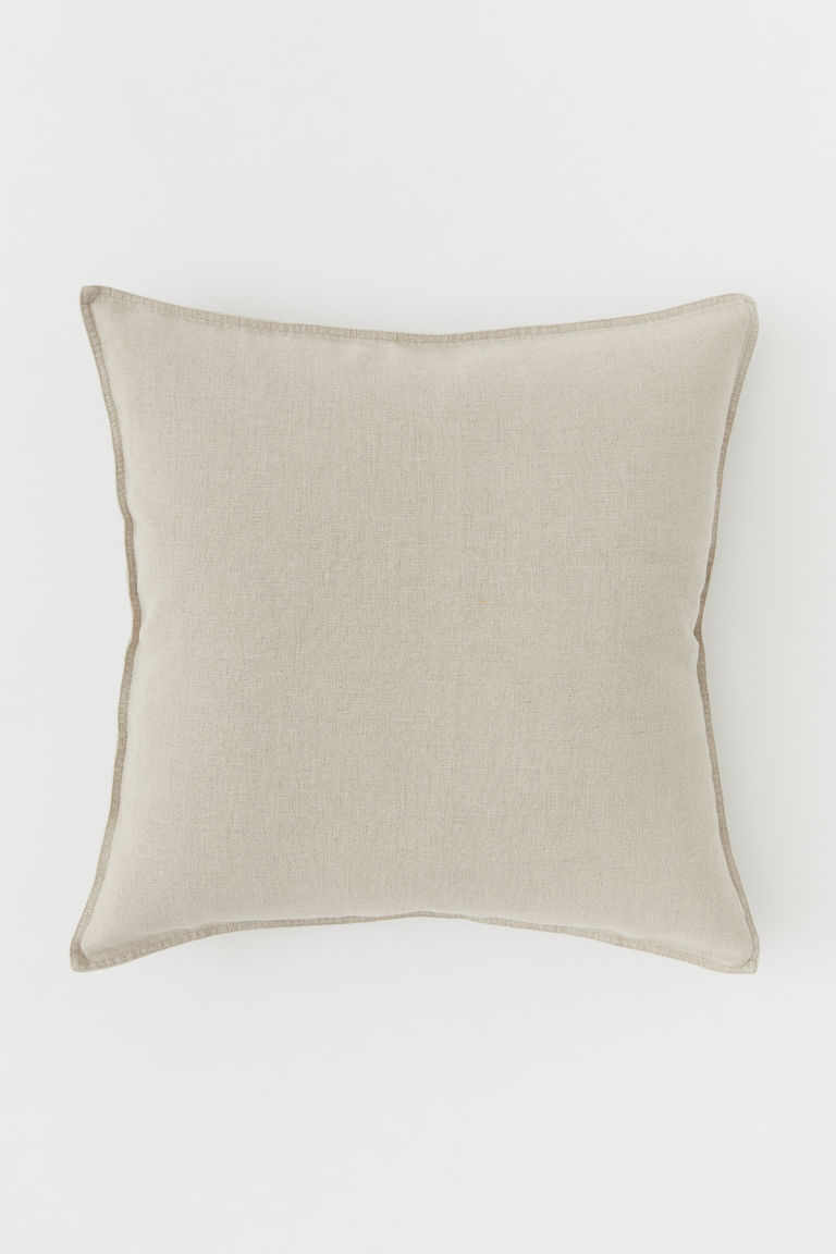 Washed Linen Cushion Cover - Linen beige -  | H&M US