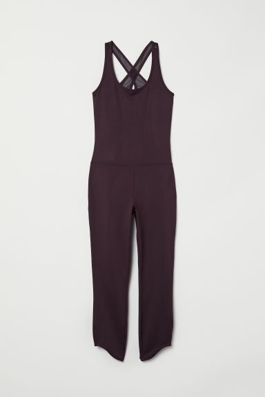 Yoga jumpsuit - Dark purple - Ladies | H&M CN