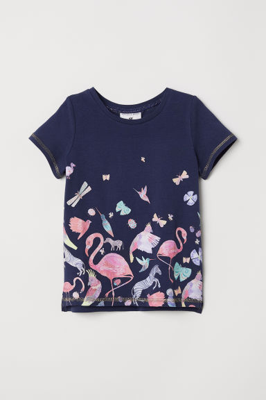 Jersey top with a motif - Dark blue/Birds - Kids | H&M