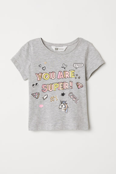 Tricot T-shirt met print - Lichtgrijs/You are Super - KINDEREN | H&M BE