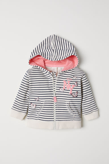 Hooded jacket - Natural white/Striped - Kids | H&M