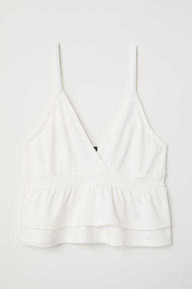 Kort topje met volants - Wit - DAMES | H&M BE