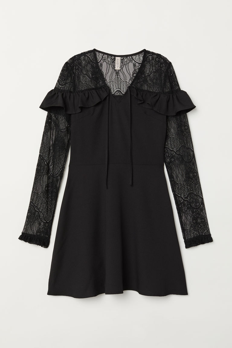 Dress with lace - Black -  | H&M