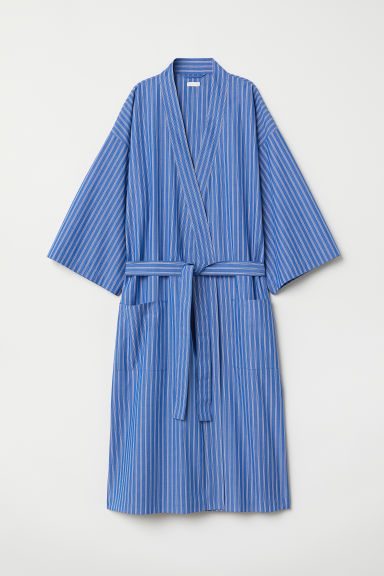 Striped dressing gown - Bright blue/Striped - Home All | H&M CN
