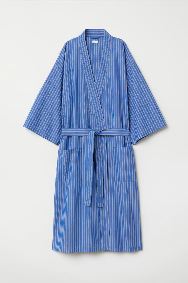 Striped dressing gown - Bright blue/Striped - Home All | H&M GB
