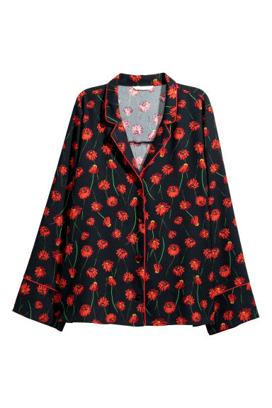 Wide satin shirt - Black/Floral - Ladies | H&M CN